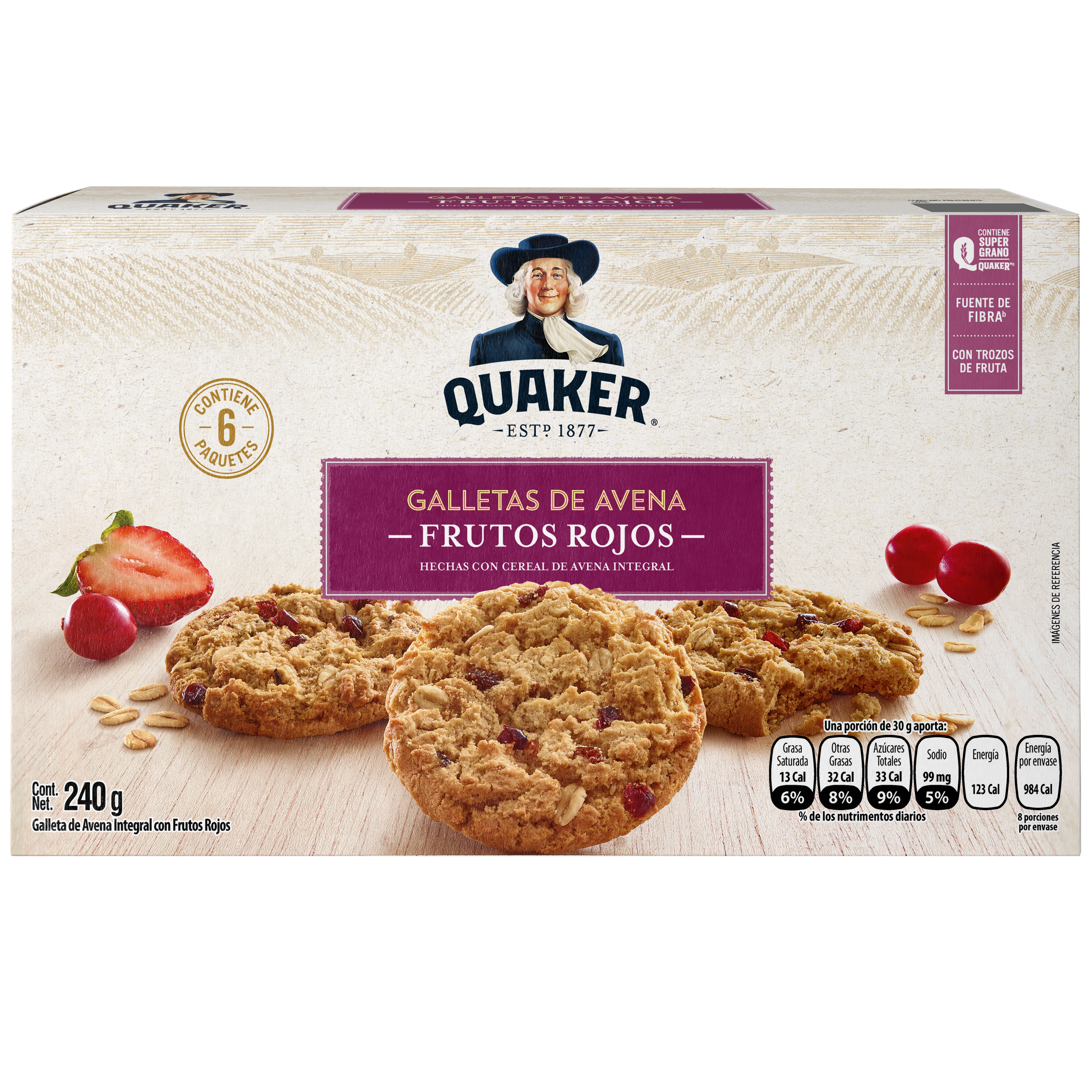Quaker<sup>®</sup> Galleta de Avena Frutos Rojos